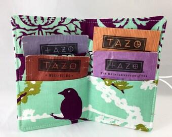 Tea Wallet - Tea Bag Wallet Tea Bag Case - Tea Bag Holder - Tea Holder Tea Bag Cozy Tea Organizer - Joel Dewberry Aviary 2 Sparrows in Plum