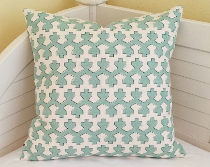 Robert Allen Beacon Hill Armadale in Water Designer Pillow Cover - Square, Euro and Lumbar Sizes