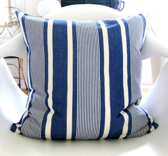 Ralph Lauren Throw Pillow Covers : Blue French Ticking Stripe Ralph Lauren Pillow Cover