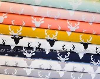 Buck Forest Fabric, Deer Fabric, Designer Cotton Bundle of 8 from Art Gallery Fabrics, Quilting Weight Cotton Fabric, Hello Bear Collection
