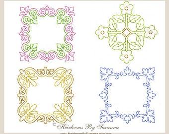 Machine Embroidery Design, Redwork, Colorwork, Geometric Motif, Square Machine Quilt Motifs, Quilt Embroidery, 3 Sizes - SQUARE SET- No.2