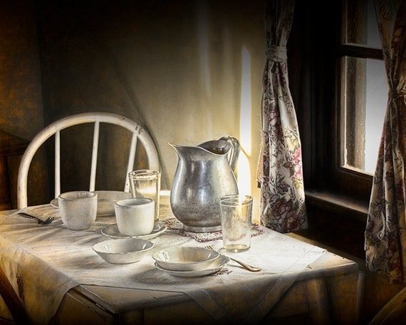 Vintage Table Setting with Silver Pitcher in Pioneer 1880 Town Museum in South Dakota No.311032 A Historical Time Period Fine Art Photograph