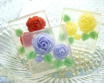 Rose Flower Guest Soap Set. Set of 3 Soaps. Pretty Rose Embedded Flowers.  Many fragrances and colors available.