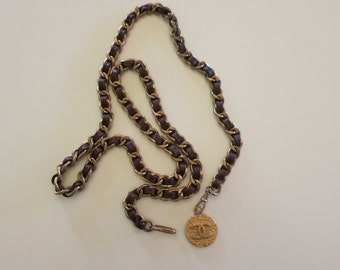 Vintage 1982 Chanel Chain and Leather Belt