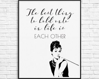 "Typography Poster Instant Download ""Audrey Hepburn"" Print Wall Decor Inspirational Poster Wisdom Quote black and white"