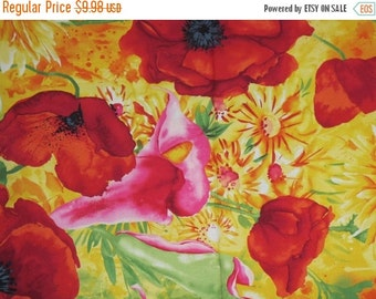 ON SALE Stunning Floral Border Print Pure Cotton Fabric--One Yard