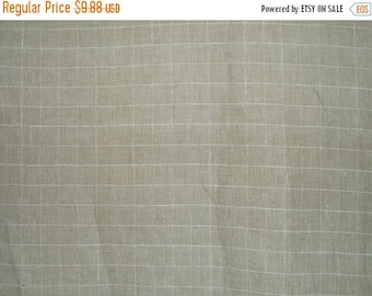 ON SALE SPECIAL--Sage Green Windowpane Check Pure Linen Fabric--One Yard