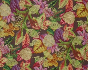 ON SALE REMNANT--Gold and Red with Metallic Gold Leaf Print Pure Cotton Fabric-7/8 Yard