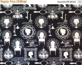 ON SALE White on Black Silhouette Print Pure Cotton Fabric--By the Yard