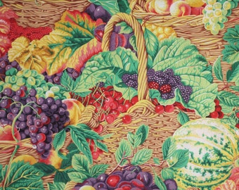 Colorful Fruit Market Basket Print Pure Cotton Fabric--By the Yard