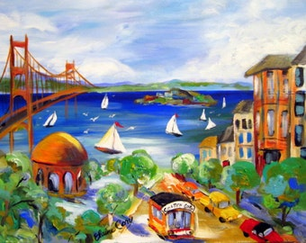 San Francisco Original Painting City scene  16 x 20 Art by Elaine Cory