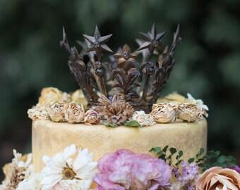 Gold Crown Cake Topper, Medium Santos Crown, Dark Gold Crown, Star Crown, wedding cake topper