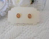 Opal Stud Earrings, Fire Opal Studs, Harlequin Opal, Confetti Opal Studs, Sparkle Studs, Galaxy Studs, Nebula, Vintage Glass Cabochons