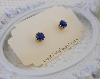 Swarovski Crystal Studs, Capri Blue Studs, Rhinestone Studs, Blue Studs, Estate Jewelry, Preppy Studs, Blue and Gold Earrings, LAST PAIR