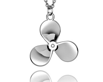 Propeller pendant solid Sterling Silver with chain