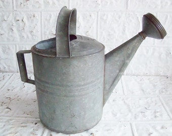 Vintage  Galvanized Zinc Watering Can 12 Quart. Think Spring