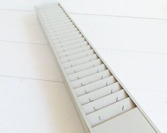 Vintage Metal Time Clock Card Rack Holder . Office Kitchen Decor . Recipe Card Display .