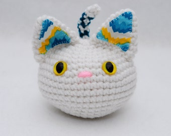 Furrball Kitty Cat by Lilac's Lovables - White with Yellow Glitter Eyes Teal Turquoise Blue Stripes and Pink Nose