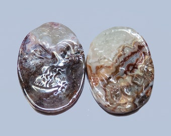 LACE AGATE (20970)  - Parcel (2 Stones)  Huge  30 x 22mm Hand-carved Cameo Oval - Cab
