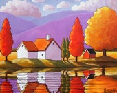 Autumn Purple Mountain Cottages, 5x7 Art Print, Modern Folk Art, Colorful Fall Trees Watery Reflection Landscape, Artwork by Cathy Horvath