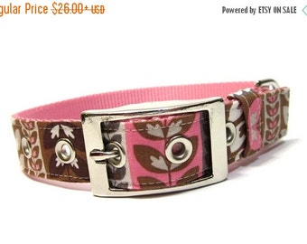 BIG SALE Dog Collar Pink and Brown Petals