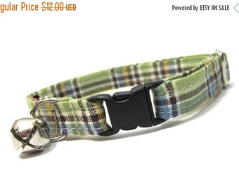 BIG SALE Green and Brown Plaid Cat Collar