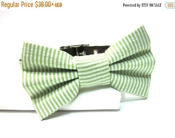 BIG SALE Classic Lime Green Seersucker Dog Collar Bow Tie