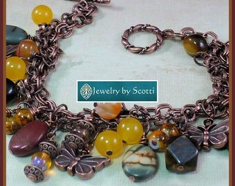 Copper Butterfly Gemstone Bracelet, Butterfly Charms, Her Stone Bracelet, Her Copper Bracelet, Charm Bracelet, Statement Bracelet
