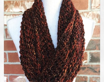 Brick Red Lacy Infinity Scarf - Silk and Merino Ready to Ship Fashion Gift Handmade Knit