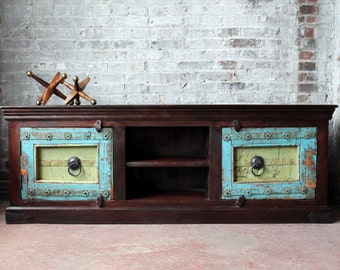 Reclaimed Antique Door Media Console TV Stand Reclaimed Heavily Distressed Turquoise Blue and Green Salvaged Indian Doors Archit