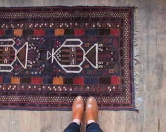 vintage Turkish rug, indigo blue rug