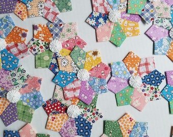 9 Scrappy Miniature Dresden Plate 1930's Reproduction Feedsack Patchwork Quilt Blocks 5 inches with Optional Yo Yo Centers
