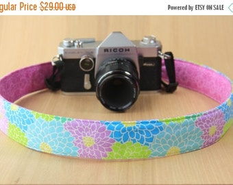 FINAL CLEARANCE Camera Strap for DSLR - Crossbody, Reversible, Quick Release - Purple, Green and Blue Flowers - Ready to Ship