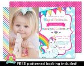 Rainbow Unicorn Invitation - Rainbow Party Invite - Unicorn Invitation - Rainbow Invitation - Unicorn Birthday Invitation - Birthday Party