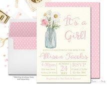 Rustic Floral Baby Shower Invitation, Floral Baby Shower, Rustic baby Shower, It's A Girl, Country Baby Shower, Baby Shower Invitation