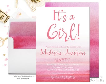 Baby Shower Invitation Girl, Watercolor Baby Shower Invitation, Pink Ombre Baby Shower, Girls Baby Sprinkle, Watercolor Invites, Printable