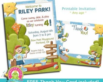 Park Birthday Invitation / Playground Invite / Birthday Invitation / Park Party Invitation / Playground Birthday / Playground Invitation