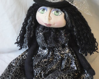 OOAK Primitive Witch Art Doll, Halloween Witch, gothic, creepy, spooky, black and silver witch cloth art doll, Halloween doll