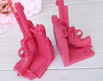SUMMER SALE Bright Pink Gun Book Ends / Modern Decor / Office / Library / Book Ends / For The Home