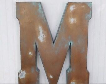 SUMMER SALE Large Metal Letter / Decorative Letter / Capital Letter / Large Letter M / Shabby Chic Letter / Rustic Letter / Patina