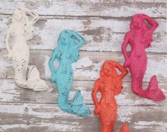 Mermaid Cast Iron Hook / Coastal / Nautical / Mermaid Decor / Rustic