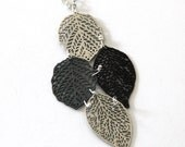 oxidize silver leaf nature pendant ,long pendant, oxidize silver plated pendant, nature leaf jewelry