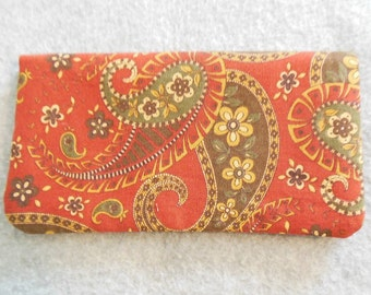 Fabric Checkbook Cover - Red Paisley