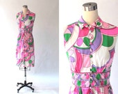 1960s Ruth Walter Pucci Print Dress // 60s Vintage Pink and White Button Front Sleeveless Dress // Medium - Large