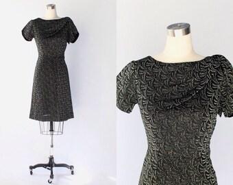 SALE // 1950s Metallic Sheath Dress // 50s Vintage Black and Green Short Cocktail Dress // Medium