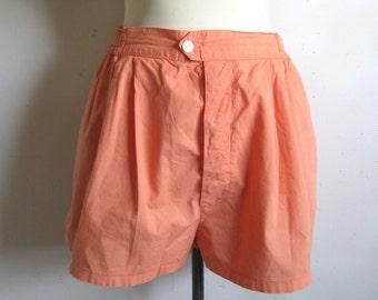Vintage 1980s Shorts Benetton Pale Orange Cotton Shorts Medium