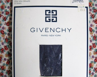 Vintage Early 1990s Stockings Givenchy Hoisery Blue Dahlia 1990 Designer Nylons Small A