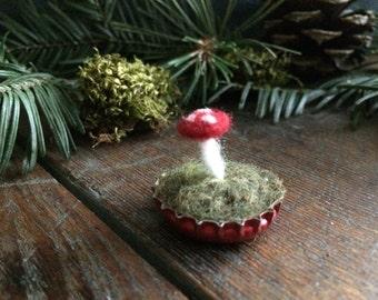Felted Red amanita mushroom in a metallic red bottlecap, red spotted toadstool, red wool mushroom, miniature fairy house mushroom