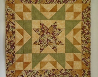 Fall Autumn Quilted Table Runner, Star Wall Quilt, Quilted Star Table Topper, Quilted Wall Hanging, Rustic Fall Leaves Table Quilt
