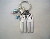 Best friends Kitty Necklace,  Cat Key Chain, Fork jewelry, OOAK
